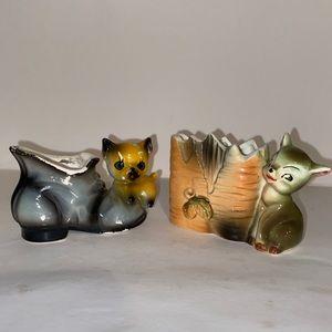 Set Of 2 VTG Ceramic Animal Mini-Planters Kitschy